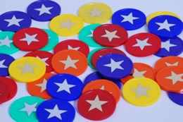 35mm Gold/Silver Star Tokens